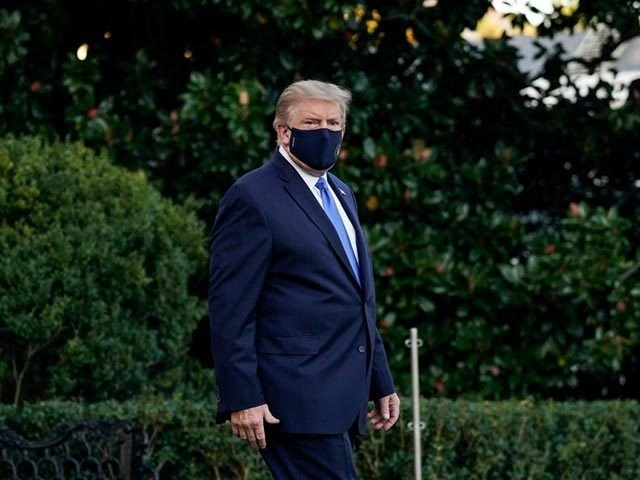 WASHINGTON, DC - OCTOBER 02: U.S. President Donald Trump leaves the White House for Walter Reed National Military Medical Center on the South Lawn of the White House on October 2, 2020 in Washington, DC. President Donald Trump and First Lady Melania Trump have both tested positive for coronavirus. (Photo …