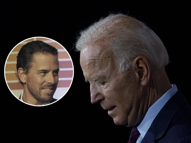 (INSET: Hunter Biden) BURLINGTON, IA - AUGUST 07: Democratic presidential candidate and former U.S. Vice President Joe Biden delivers remarks about White Nationalism during a campaign press conference on August 7, 2019 in Burlington, Iowa. (Photo by Tom Brenner/Getty Images)