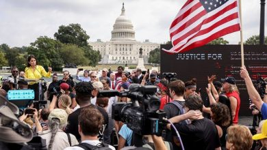 WASHINGTON, DC - SEPTEMBER 18: Supporters of those charged in the January 6 attack on the U.S. Capitol attend the 'Justice for J6' rally near the U.S. Capitol September 18, 2021 in Washington, DC. The protestors gathered in Washington, DC on Saturday to support over 600 people arrested and charged …