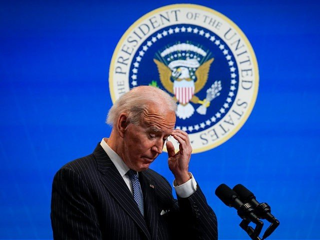 WASHINGTON, DC - JANUARY 25: U.S. President Joe Biden pauses while speaking after signing an executive order related to American manufacturing in the South Court Auditorium of the White House complex on January 25, 2021 in Washington, DC. President Biden signed an executive order aimed at boosting American manufacturing and …